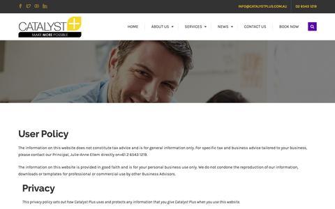 Screenshot of Terms Page catalystplus.com.au - Legal Stuff   Jewlz Ellem   Catalyst Plus   Xero Gold Partner   Tax Accountant - captured Sept. 27, 2018