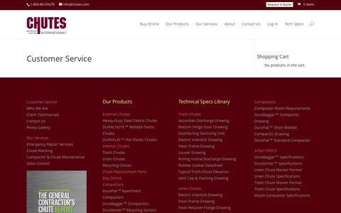 Screenshot of Support Page chutes.com - Customer Service - Chutes International - captured Oct. 8, 2016