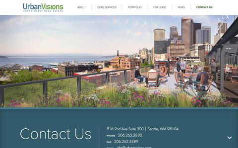 Screenshot of Contact Page urbanvisions.com - Contact Us - Urban Visions : Sustainable Real Estate - captured Feb. 22, 2016