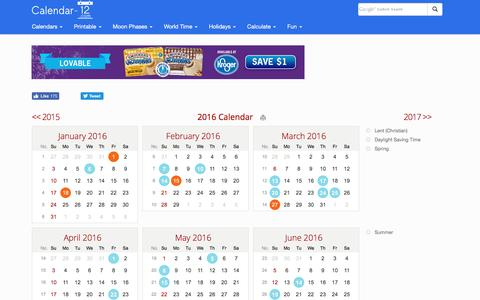 Screenshot of Home Page calendar-12.com - 2016 Calendar - Calendar-12.com - captured Sept. 8, 2016