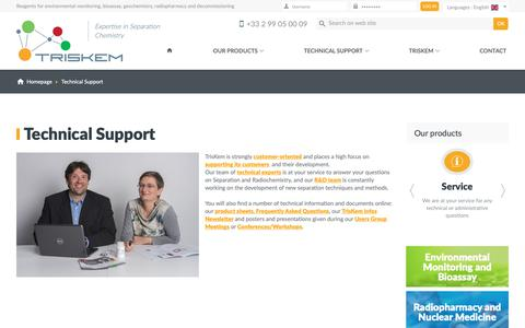 Screenshot of Support Page triskem-international.com - TrisKem International - Reagents for environmental monitoring, bioassay, geochemistry, radiopharmacy and decommissioning - captured Sept. 30, 2018