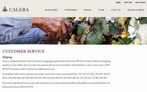 Screenshot of Support Page calerawine.com - Calera Wine Company - Customer Service - captured July 11, 2017