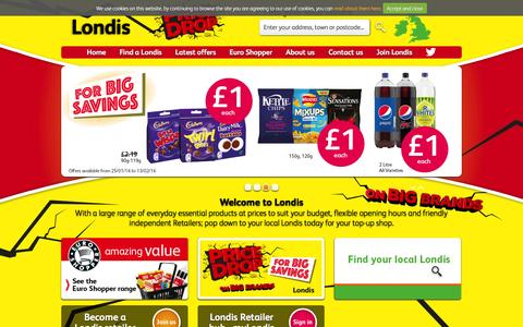 Screenshot of Home Page londis.co.uk - Welcome to Londis - captured Jan. 26, 2016