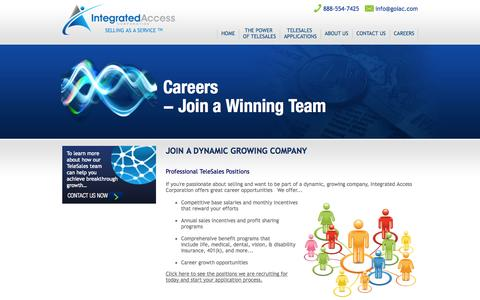 Screenshot of Jobs Page goiac.com - Join a dynamic growing company | Integrated Access Corporation - captured Oct. 6, 2014