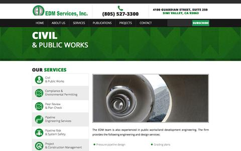 Screenshot of Services Page edmsvc.com - Civil & Public Works | EDM Services - captured Oct. 27, 2014