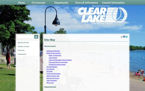 Screenshot of Site Map Page cityofclearlake.com - Site Map - captured July 18, 2018