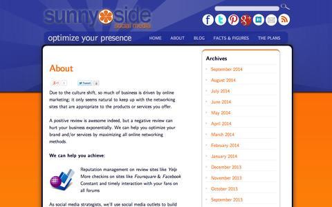 Screenshot of About Page sunnysidesocialmedia.com - Online Marketing - SEO - Denver - Boulder - Sunnyside Social Media - captured Sept. 30, 2014