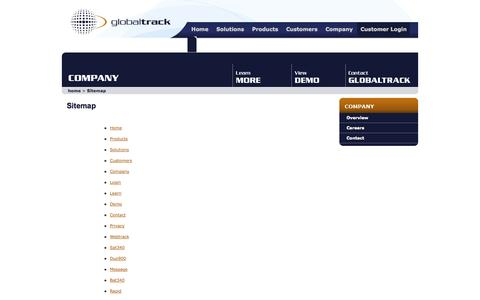Screenshot of Site Map Page globaltrack.com - Sitemap @ GlobalTrack - captured Sept. 30, 2014
