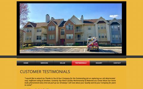 Screenshot of Testimonials Page mdpremierexteriors.com - Roofing, Siding, Solar Installation Repairs Gaithersburg, Maryland | TESTIMONIALS - captured Oct. 17, 2017