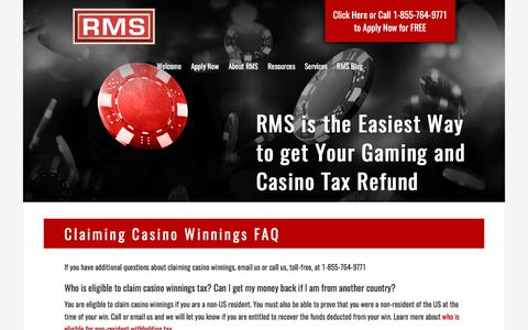 Screenshot of FAQ Page refundmanagement.com - Claiming Casino Winnings - Frequently Asked Questions | RMS - captured Nov. 7, 2017