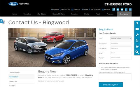 Screenshot of Hours Page etheridgeford.com.au - Contact Us | Ringwood, VIC - Etheridge Ford - captured Nov. 4, 2018