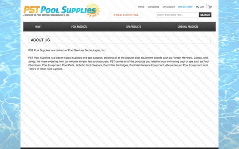 Screenshot of About Page pstpoolsupplies.com - ABOUT US | PST Pool Supplies - captured July 10, 2016
