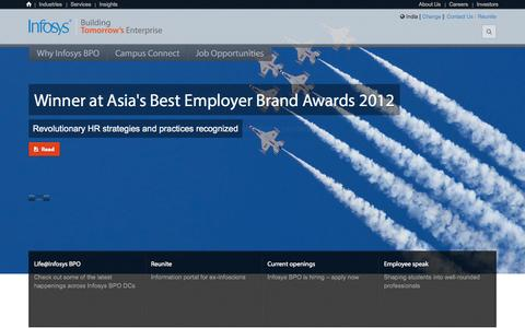 Screenshot of Jobs Page infosysbpo.com - Careers At Infosys BPO - captured Sept. 24, 2014