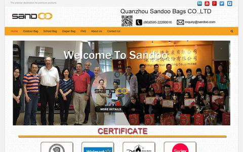 Screenshot of Home Page sandoo.com - Custom Backpacks,Wholesale Bags from China Bags Supplier - captured June 26, 2016