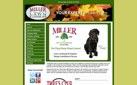 Screenshot of Home Page millerlawn.com - Lawn Service, Lawn Fertilization Service in Lees Summit, Overland Park, Kansas City, Missouri, Kansas | Miller Lawn. - captured Oct. 6, 2014