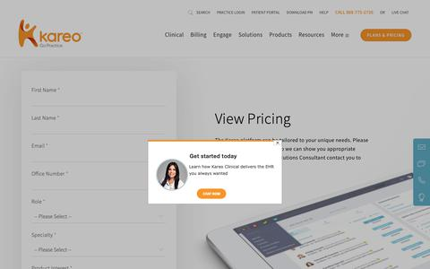 Screenshot of Pricing Page kareo.com - Pricing for EHR (Electronic Health Records)   Kareo - captured Feb. 6, 2019