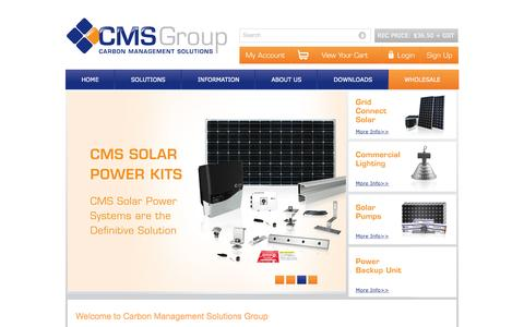 Screenshot of Home Page carbonmanagement.com.au - CMS Solar Power Products | Panels | Inverters | Installation Kits | Framing | 1300 BUY CMS - captured Oct. 1, 2014