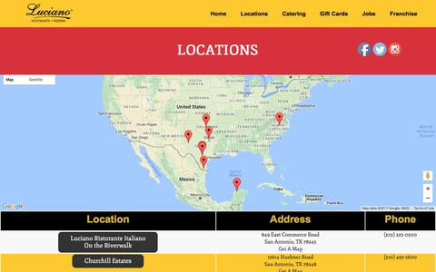 Screenshot of Locations Page lucianorestaurants.com - Locations - Luciano Restaurants Luciano Restaurants - captured May 22, 2017