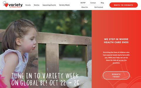 Screenshot of Home Page variety.bc.ca - Home - Variety Children's Charity - captured Oct. 18, 2018