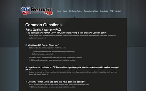 Screenshot of FAQ Page oeremandirect.com - Common Questions - OE Reman Direct - captured Sept. 30, 2014