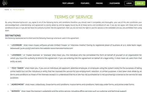 Interview Mocha Terms of services