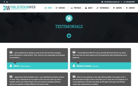 Screenshot of Testimonials Page deliciousweb.net - Website Design, Development Services in India, E-commerce - captured Feb. 8, 2016