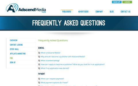 Screenshot of FAQ Page adscendmedia.com - Adscend Media: Content Locking & Monetization ; CPA Affiliate Network - captured Oct. 29, 2014