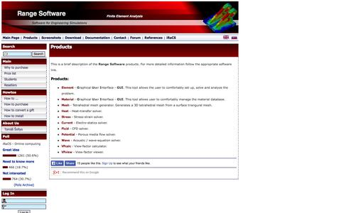 Screenshot of Products Page range-software.com - Range Software :: Products - captured Oct. 7, 2014