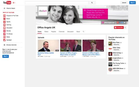 Screenshot of YouTube Page youtube.com - Office Angels UK  - YouTube - captured Oct. 27, 2014