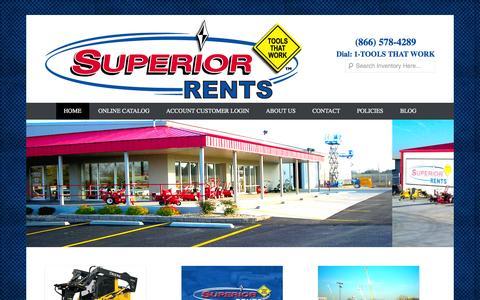 Screenshot of Home Page Menu Page superiorrents.com - Superior Rents - captured Sept. 30, 2014