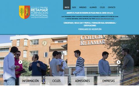 Screenshot of Home Page retamarfp.com - Formación Profesional Retamar - captured Sept. 18, 2015