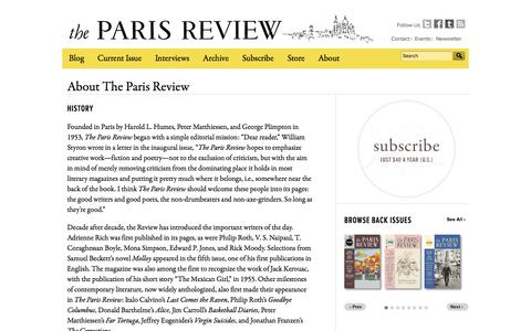 Screenshot of About Page theparisreview.org - History of The Paris Review - captured Sept. 25, 2014