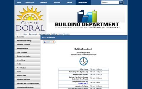 Screenshot of Hours Page cityofdoral.com - City of Doral, Florida - Hours of Operation - captured July 21, 2015