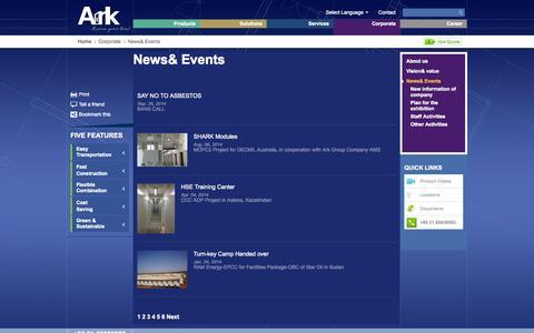 Screenshot of Press Page arkprefab.com - News& Events - ark prefab,Ark modular building - captured Oct. 4, 2014