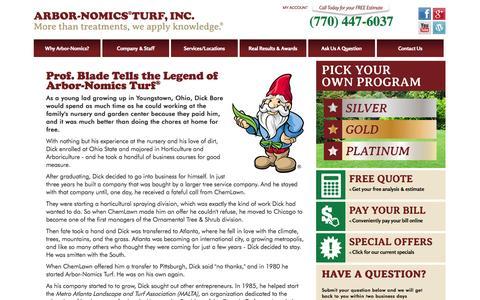 Screenshot of About Page arbor-nomics.com - Atlanta Lawn Service | The Story of Arbor-Nomics - captured Oct. 4, 2014