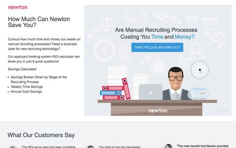 Screenshot of Landing Page newtonsoftware.com - Newton's ATS ROI Calculator | Newton Software - captured June 18, 2017
