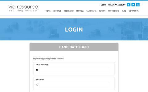 Screenshot of Login Page viaresource.com - Login - ViaResource - ViaResource - captured Sept. 20, 2018