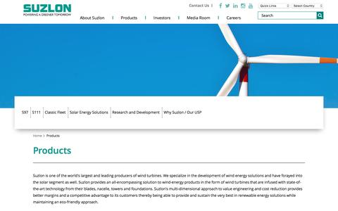 Screenshot of Products Page suzlon.com - Solar and wind energy Turbine Products – Suzlon - captured Nov. 15, 2016