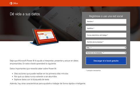 Screenshot of Landing Page office.com - Dé vida a sus datos (Power BI): E-book - captured July 23, 2017