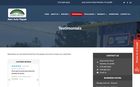 Screenshot of Testimonials Page aeroautomotive.com - Marietta Auto Repair Reviews: Aero Auto Repair | Auto Repair Marietta, GA, Georgia | Marietta Best Auto Shop - captured July 29, 2018