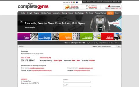 Screenshot of Contact Page Support Page completegyms.com - Complete Gyms - captured Oct. 23, 2014