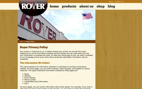 Screenshot of Privacy Page royercorp.com - Royer Corporation Privacy Policy - captured Nov. 12, 2016