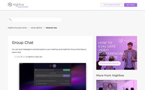 Screenshot of Support Page highfive.com - Group Chat – Highfive Success Center - captured Oct. 9, 2019