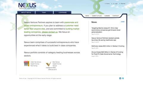 Screenshot of Home Page nexusvp.com - Nexus Venture Partners - captured Sept. 19, 2014