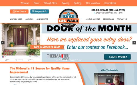 Screenshot of Home Page goclward.com - Michigan's Best Home Improvement Specialists | C&L Ward - captured Sept. 25, 2018