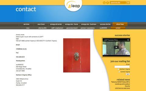 Screenshot of Contact Page leap-va.org - contact | leap - captured Oct. 1, 2014