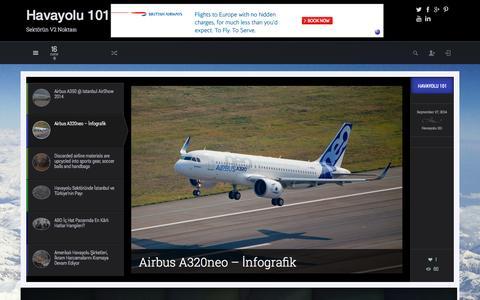 Screenshot of Home Page havayolu101.com - Havayolu 101 | Sektörün V2 Noktası - captured Sept. 29, 2014