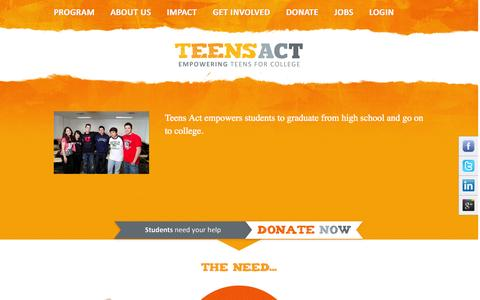 Screenshot of Home Page teens-act.org - Teens Act - captured Sept. 30, 2014
