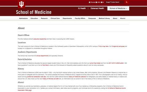 Screenshot of About Page iu.edu - About - IU School of Medicine - captured Sept. 18, 2014