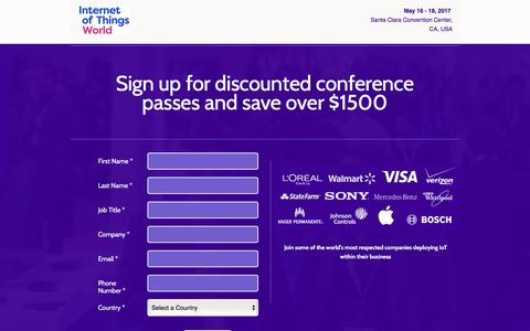 Screenshot of Landing Page knect365.com - Discounted Passes | Internet of Things World - captured Nov. 14, 2016
